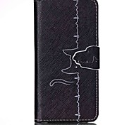 Недорогие -Линия кот шаблон PU кожаный чехол с слот для карт и стоять Samsung Galaxy S4 мини / s3mini / s5mini / S3 / S4 / S5 / S6 / s6edge +