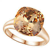 T&C Women's Elegant Bridal Jewelry Top Class 18k Rose Gold Plated Champagne Gold Crystal Finger Ring