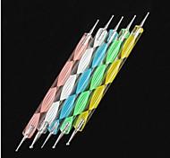 Недорогие -5шт 2-полосная ногтей расставить красочные волны справиться точка Наборы инструментов