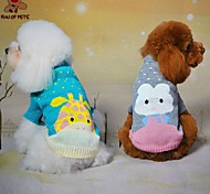 Cat / Dog Sweater Green / Blue / Gray Dog Clothes Winter / Spring/Fall Cartoon Cute / Casual/Daily