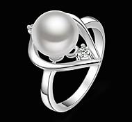 Недорогие -Жен. Заявление - Жемчуг, Цирконий, Серебрянное покрытие Сердце Мода Стандартный размер Белый Назначение Для вечеринок / Искусственный бриллиант