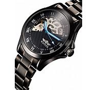 WINNER® Men's Skeleton Black Steel Band Automatic Mechanical Wrist Watch Cool Watch Unique Watch