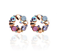 cheap -Stud Earrings Crystal Rhinestone Gold Plated Flower Rainbow Jewelry Party Daily Casual 2pcs