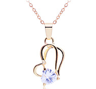 Korean Fashion Peach Heart Clip Zircon Pendant Alloy Necklace