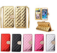 Кнопка роскошный Bling алмазов проверить блестящие поверхности Дело PU кожаный бумажник Стенд для iPhone 6 / 6с (ассорти цветов)