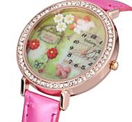 Women's Sparkle Case 3D Flower Dial PU Band Quartz Watch Cool Watches Unique Watches