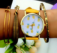 Tropical Fruit Pineapple Watch Vintage Style Leather Bracelet Women Strap Watches Cool Watches Unique Watches Fashion Watch