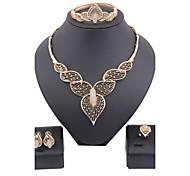 Juego de Joyas Lujo Vintage Bonito Fiesta Casual Brazalete Moda Chapado en Oro Diamante Sintético Legierung Pulsera Collar Pendientes