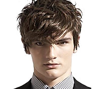 cheap -Synthetic Hair Wigs Wavy Side Part With Bangs Carnival Wig Halloween Wig Short Brown