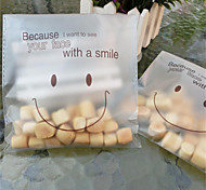 cheap -10pcs Smiley Face Cello Self Adhesive Matte Thin Plastic Candy Cookie DIY Bags