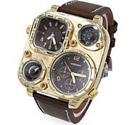 Men's Fashion Dual Time Zones Leather Strap Quartz Watch Wrist Watch Cool Watch Unique Watch