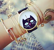 Peeping Black Cat Watch, Vintage Style Leather Watch, Retro Watch, Boyfriend Watch,Women Men's Watch Cool Watches Unique Watches