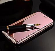 Для Кейс для iPhone 5 Покрытие / Зеркальная поверхность / Флип Кейс для Чехол Кейс для Один цвет Твердый Искусственная кожа iPhone SE/5s/5