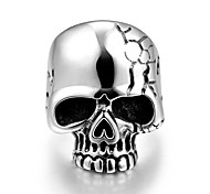 Fashion Individual No Decorative Stone Men's Stoving Varnish skull Stainless Steel Ring(Black)(1Pc) Christmas Gifts