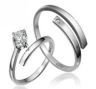 cheap -Couple's Sterling Silver / Zircon Couple Rings - Jewelry Fashion / Simple Style Ring For Wedding / Party / Gift