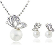 MISSING U Alloy / Imitation Pearl / Rhinestone / Silver Plated Jewelry Set Necklace/Earrings Daily / Casual 1set