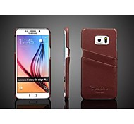 cheap -Case For Samsung Galaxy Samsung Galaxy Case Card Holder Back Cover Solid Color Genuine Leather for S6 edge plus