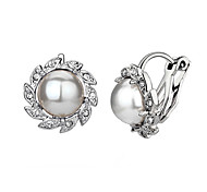 cheap -Women's Clip Earrings Crystal Imitation Pearl Cubic Zirconia Alloy Flower Jewelry Wedding Party Daily Casual Costume Jewelry
