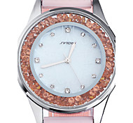 SINOBI Women's Fashion Watch Casual Watch Floating Crystal Watch Quartz Water Resistant / Water Proof Silicone Band Pink