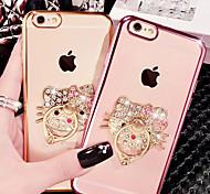 Недорогие -Кейс для Назначение Apple iPhone X iPhone 8 iPhone 8 Plus iPhone 6 iPhone 6 Plus Стразы Покрытие Кольца-держатели Прозрачный С узором