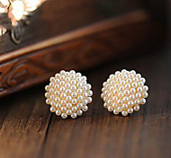 Women's Fashion Round Small Grain Pearl Stud Earrings