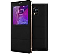 Недорогие -Кейс для Назначение SSamsung Galaxy Samsung Galaxy Note с окошком Флип Чехол Сплошной цвет Кожа PU для Note 4