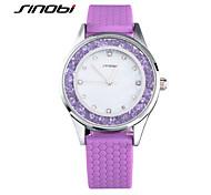 SINOBI Mulheres Relógio de Moda Relógio Casual Relógios Femininos com Cristais Quartzo Impermeável Silicone Banda Roxa