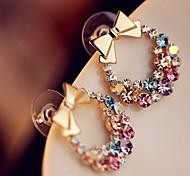 Women's Fashion Korean Style Metal Bow Pattern Zircon Colorful Crystal Earrings