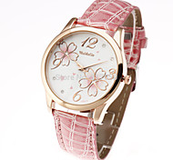 cheap -Women's Quartz Wrist Watch Casual Watch Leather Band Flower Casual Fashion Black White Red Brown Pink