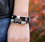 cheap -Men's Leather Skull Leather Bracelet - Beaded Black Bracelet For Christmas Gifts Party Daily
