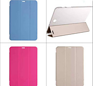 caso trasero de lujo de la PU del sostenedor del soporte de libro de cuero elegante de la cubierta transparente para samsung galaxy tab s2