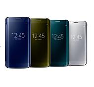 preiswerte -Hülle Für Samsung Galaxy Samsung Galaxy S7 Edge mit Sichtfenster Spiegel Flipbare Hülle Transparent Ganzkörper-Gehäuse Volltonfarbe PC für