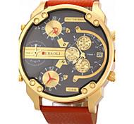 cheap -JUBAOLI® Men's Military Four Time Display Leather Band Quartz Wristwatch Cool Watch Unique Watch