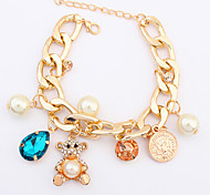 cheap -Crystal Chain Bracelet - Pearl, Cubic Zirconia Bear, Animal Unique Design, Party, Fashion Bracelet Gold For Party / Gift / Valentine