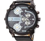 cheap -Men's Military Four Time Display Leather Band Quartz Wristwatch Wrist Watch Cool Watch Unique Watch Fashion Watch