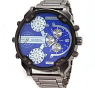 Men's Military Double Time Display Steel Band Quartz Wristwatch Wrist Watch Cool Watch Unique Watch