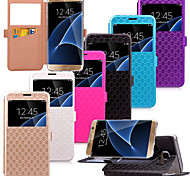 KARZEA™ Diamond Pattern TPU and PU Leather Case with Stand for Samsung Galaxy S7/S7 edge