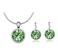 cheap -Women's Crystal Jewelry Set Earrings / Necklace - Green / Blue / Pink For Wedding / Party / Daily