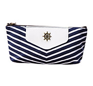 cheap -Navy Stripes Style Pen Pencil Case Cosmetic Make up Bag Storage Pouch Wallet Coin Purse Blue