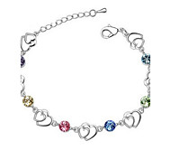 cheap -Women's Crystal Chain Bracelet - LOVE Yellow Rose Blue Rainbow Bracelet For Wedding Party Daily Casual