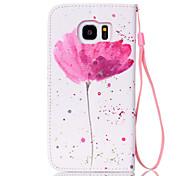 Недорогие -Для Samsung Galaxy S7 Edge Кошелек / Бумажник для карт / со стендом / Флип Кейс для Чехол Кейс для Цветы Искусственная кожа SamsungS7