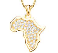 африки карта кристалл кулон ювелирные изделия золота 18k покрыло белые смоделированные алмазные подвески для женщин / мужчин p30135