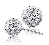 925 Silver Sterling Silver Jewelry Earrings Sample Rhinestone Beads Stud Earring 1Pair