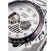WINNER Da uomo Orologio da polso orologio meccanico Carica automatica Orologi con incisioni Acciaio inossidabile Banda Di lusso Argento
