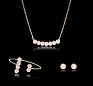 Lucky Doll Women's  Rose Gold Plated Imitation Pearl Rhinestone Necklace & Earrings & Bracklet Jewelry Sets