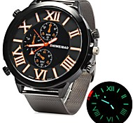 Men's Military Fashion Big Size Dial Silver Steel Band Quartz Watch Wrist Watch Cool Watch Unique Watch