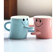 2PCS Men And Women Friends Birthday Gift Lovers Smiling Face Hug For A Cup Of Couple Of Cups Color random