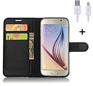abordables -Funda Para Samsung Galaxy Soporte de Coche Cartera con Soporte Flip Funda de Cuerpo Entero Color sólido Dura Cuero de PU para S6 edge