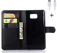 PU Leather Flip Wallet Case with USB Cable for Samsung Galaxy Note 3/Note 4/Note 5