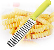 cheap -Potato Shredders Slicers,  Stainless Steel Cut Potato Waves Crinkle Shape Vegetable Chips Kitchen Knife Accessories
